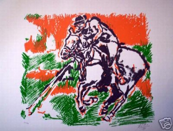 Antique To celebrate the anniversary of polo 1869-1999 a lithographic print signed F Vio 99 and numbered 30/34 unframed