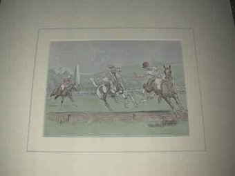 Antique John Board English 20th Polo artist a coloured print Riding off the boards Proffessionally mounted in a cream mount ready for framing