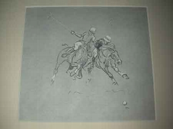 Antique John Board English 20th century polo illustration mounted in a cream mount ready for framing