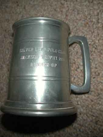Antique Pewter tankard Sheffield Englad inscribed Silver  Leys polo club Jackson trophy 1991 Runners up