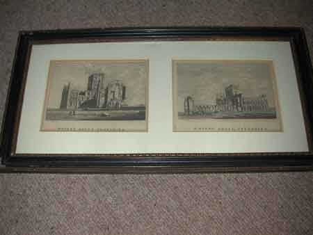 Two 18th century etchings of Whitby Abbey Yorkshire in one period frame 20th January 1776 by S Hooper each measures 13 x 16 cms