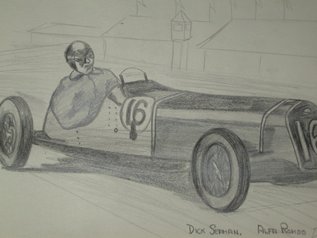 Antique An original unframed drawing racing scene by Van Fryer professionally mounted inscribed Dick Seaman Alfa Romeo Delace