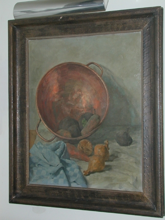 Albert Arens Dutch born 1881 died 1958, Still life with a copper bowl and vegetables.( Stilleven ...