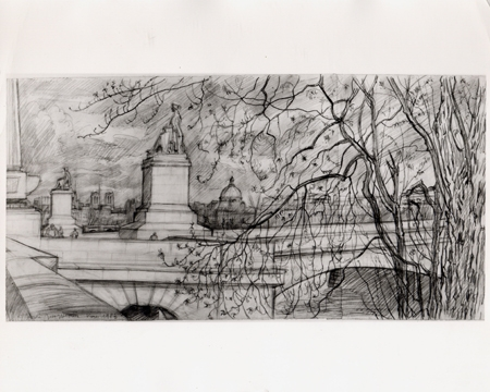 Andre Jacquemin, French 1904, pencil on paper, Quai de Pairs, France. Exhibited Wildenstein and C...
