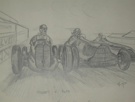 An original unfrmaed drawing by Van Fryer racing scene professionally mounted and inscribed Maserati v Alfa Nuvolari Wimille and Farina