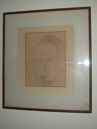 An unknown portrait of presumed Edith Sitwell From the estate of Sir Hardy Amies Pencil heightened with colour