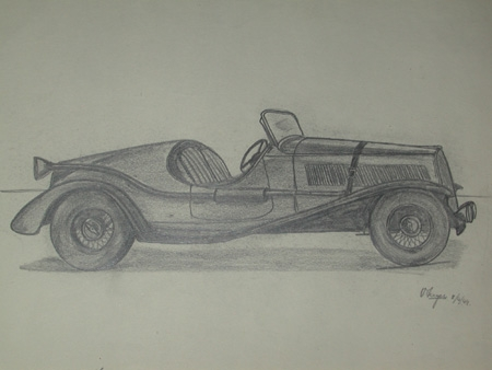 An orignal unframed drawing by Van Fryer racing scene professionally mounted inscribed The Ballilla Fiat Mille Kiglia model modified exhaust system signed and dated 1949