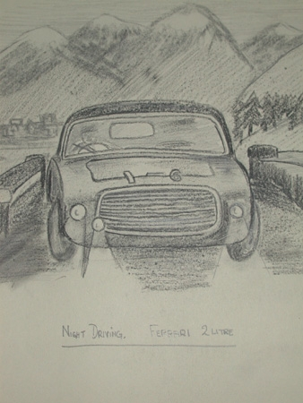 Antique An original unframed drawing by Van Fryer racing scene Night Driving Ferrari 2 litre professionally mounted and signed V fryer