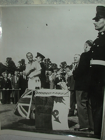 An original photograph of the HRH Prince Philip at the Empire Games 1958 signed on the reverse wi...