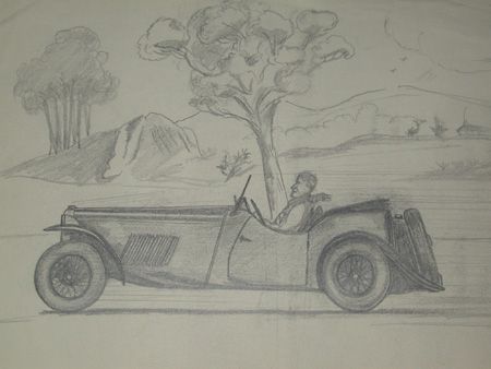 An original drawing by Van Fryer racing scene un framed professionally mounted and inscribed M G Sports by VP and dated Fryer 1949