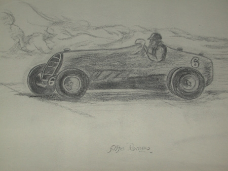 An original un framed drawing by Van Fryer racing scene professionally mounted inscribed Alfa Romeo and dated 49