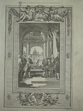 Antique Engraving of Lord Anson attending King George the secound with an account of his Voyage round the world