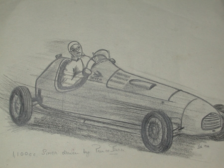 An original drawing by racing artist Van Fryer un framed professionally mounted and inscribed 1,100 cc Simca driven by Prince Bircie