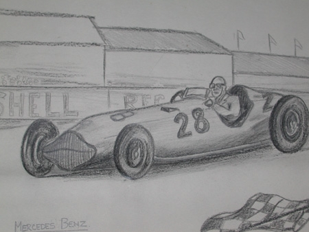 An original drawing by racing artist Van Fryer unframed