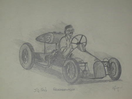 An original drawing by racing artist Van Fryer unframed inscribed and signed J G Fry's FREIKAISERWAGEN