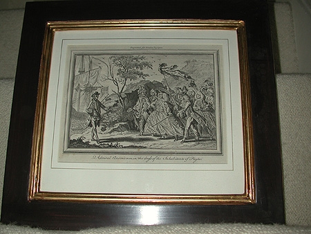 Admiral Anson's men in the dress of the inhabitants of Payta engraved for Drakes Voyages 18th century in a hand made gilt and gesso frame