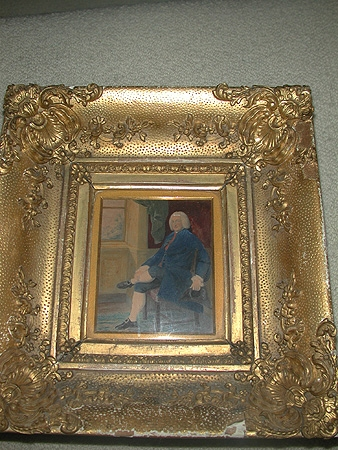 A portrait of Robert Nugent Earl Nugent taken from the portrait in West Hailing Hall Norfolk by Thomas Gainsborough in  a heavy gilt wooden frame