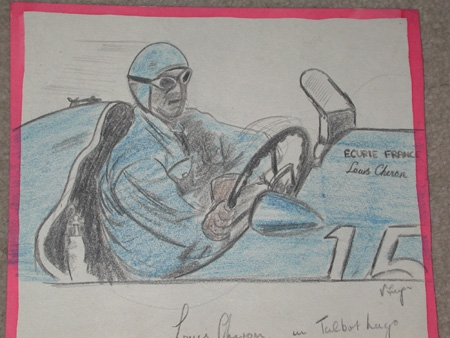 An original unframed drawing by racing artist Van Fryer Ecurie france Louis Cheron in Talbot Lago Silverstone 1949