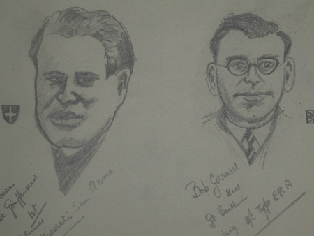 An original professionally mounted drawing of Bob Gerard and Baron Grifferini by Van Fryer Britis...