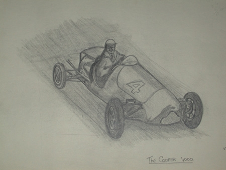 An original unframed drawing by racing artist Van Fryer professionally mounted inscribed The Coop...