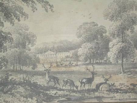 A good mounted but unframed drawing of a stately home circa 1850