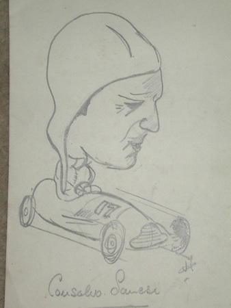 An original unframed drawing by racing artist Van Fryer professionally mounted inscribed Alfa Romeo