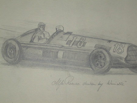 An original unframed drawing by racing artist Van Fryer professionally mounted and inscribed Alfa...