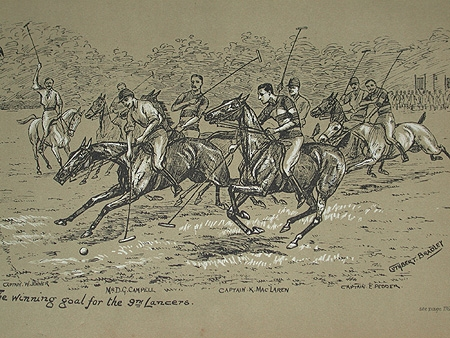 Cuthbert Bradley illustration circa 1888 The winning goal for the 9th Lancers professionally mounted