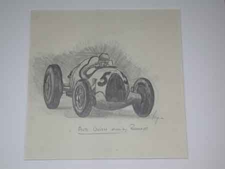 Antique Van Fryer origianl racing drawing Auto Union driven by rosemeyer signed