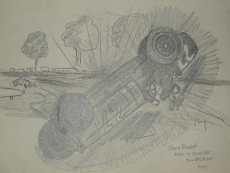 An original unframed drawing by racing artist Van Fryer professionally mounted inscribed John Bolster skids to disaster Silverstone 1949