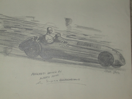 An original unframed drawing by racing artist Van Fryer professionally mounted and inscribed Maserati driven by Alberto Ascari Scuderia Ambrosiana