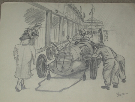An orginal drawing by racing artist Van Fryer unframed The Pit tyre change professionally mounted...
