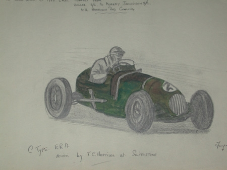 An original drawing by racing artist Van Fryer unframed professionally mounted inscribed ex Lord Howe c Type ERA convert from Zoller s/c to Murray Jamieson s/c with Harrison rad cowling C type E R A driven by T C harrison at Silverstone dated 1949