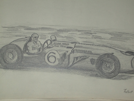 An original drawing by racing artist Van Fryer unframed professionally mounted and inscribed Talbot driven by Chiron