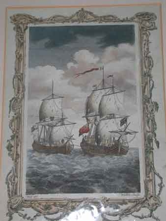 Antique The Manila Galeon taken by Admiral Anson hand coloured engraving made by Walker