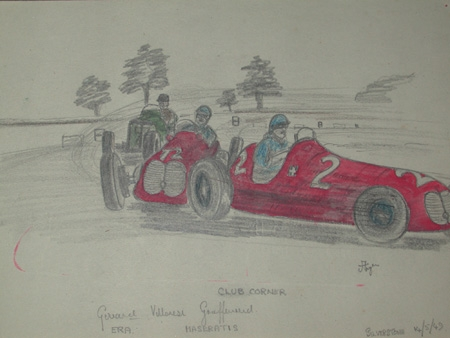 An original unframed drawing by racing artist Van Fryer professionally mounted and inscribed Club corner dated 49