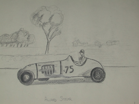 An original unframed drawing by racing artist Van Fryer professionally mounted and inscribed Allard Steyer signed and dated 1949