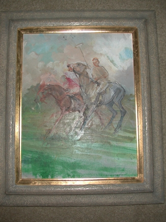 Oil on board polo ponies framed