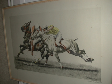 Polo print after Francisque Rebour inscribed sigend Cariola Lucas NYC 1985 framed