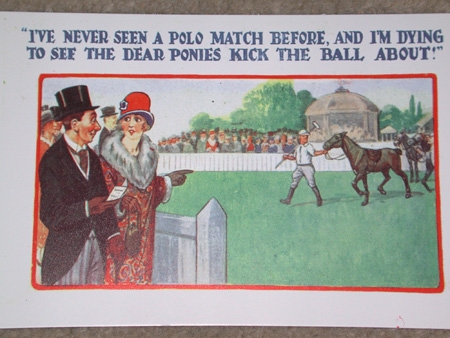 I've never seen a polo match before and I am dying to see the dear ponies kick the ball about postcard