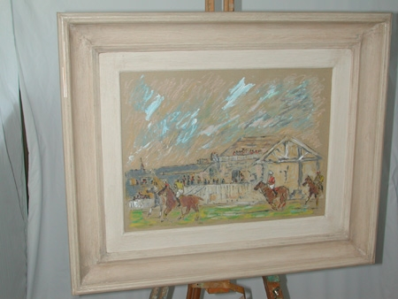 An early 20th century mixed media gouache and pastel of a polo game with stands behind signed Frobisher framed