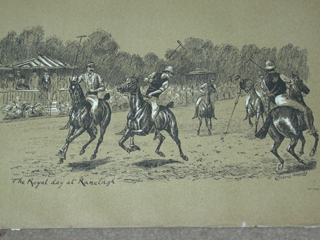 Cuthbert Bradley antique print circa 1893 The Royal Day at Ranelagh professionally mounted