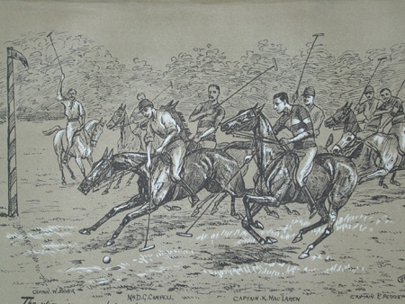Cuthbert Bradley antique print The winning goal for the 9th Lancers professionally mounted