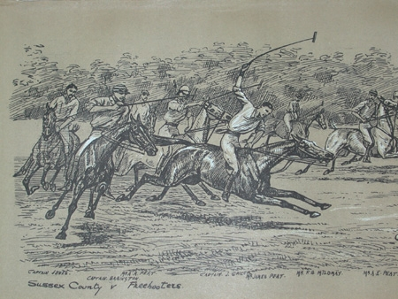 Cuthbert Bradley antique print circa 1893 Sussex county V Freebooters professionally mounted