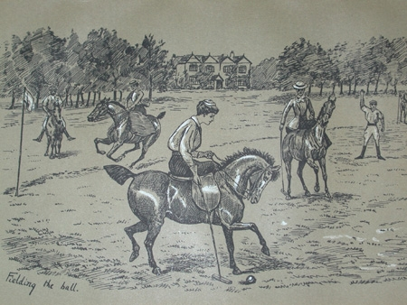 Cuthbert Bradley antique print circa 1893 Feilding the ball professionally mounted