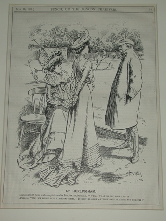 Punch illustration At Hurlingham July 10th 1901professionally mounted