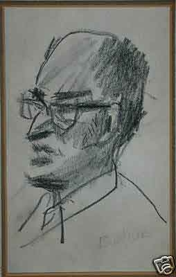 David Burjuk Russian Born Kharkov 1882 died 1968 pencil/Charcoal sketch on paper inscribed Irving Kaufman signed 69? framed