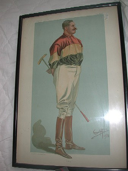 Vanity fair print of a polo player framed and dated 1898