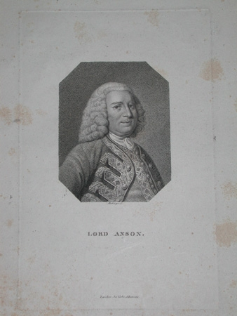 A good engraved book plate of Lord Anson professionally mounted