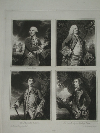 A mezotint circa 1820 of Lord Hood, Lord Anson, Hon. Augustus Keppel and Sir George Bridges after...